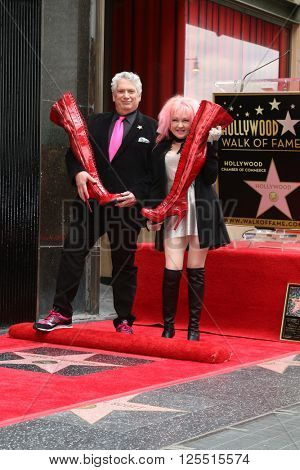 LOS ANGELES - APR 11:  Harvey Fierstein, Cyndi Lauper at the Harvey Fierstein and Cyndi Lauper Hollywood Walk of Fame Ceremony at the Pantages Theater on April 11, 2016 in Los Angeles, CA