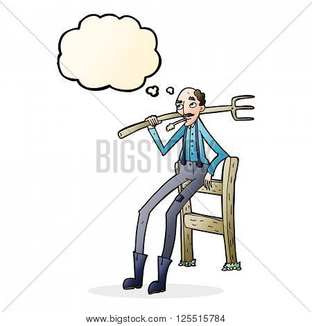cartoon old farmer leaning on fence with thought bubble