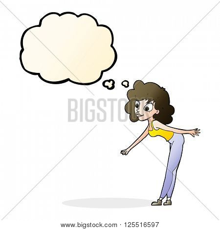 cartoon woman reaching to pick something up with thought bubble