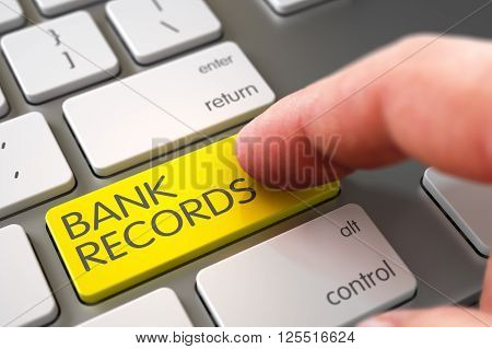 Bank Records - Modern Laptop Keyboard Concept. Laptop Keyboard with Bank Records Yellow Keypad. Close Up view of Male Hand Touching Bank Records Computer Keypad. 3D.
