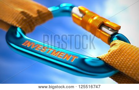 Strong Connection between Blue Carabiner and Two Orange Ropes Symbolizing the Investment. Selective Focus. 3D Render.
