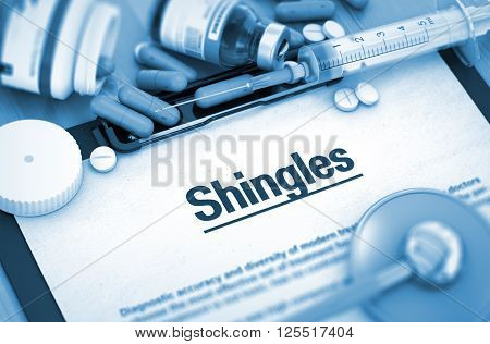 Shingles, Medical Concept with Selective Focus. Shingles, Medical Concept with Pills, Injections and Syringe. 3D.