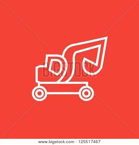 Excavator truck line icon.