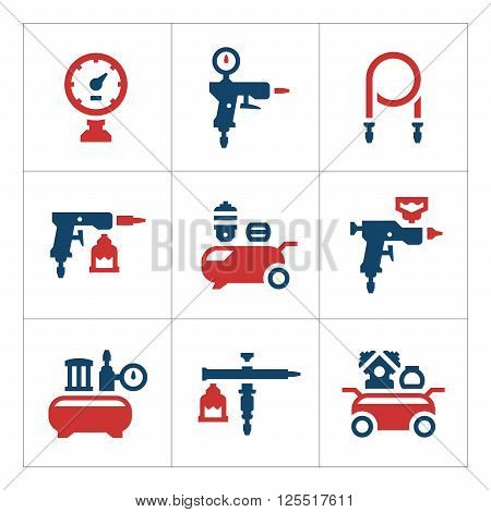 Set color icons of compressor and accessories isolated on white. Vector illustration
