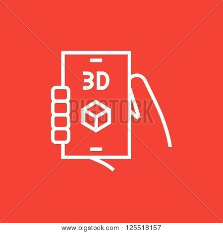 Smartphone with three D box line icon.