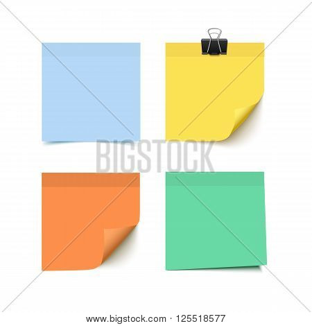 Set of four colorful sticky notes. Realistic vector illustration of sticky paper.