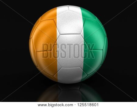 Soccer football with Cote d'ivoire flag. Image with clipping path, 3d illustration