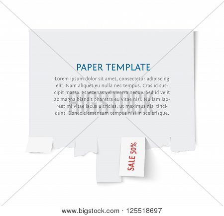 Street advertisement template with copy space for text isolated on white. Tear off paper notice on the wall. Promotion sale