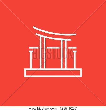 Torii gate line icon.