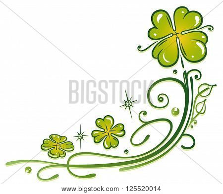 Colorful clover tendril, Silvester decoration with stars.