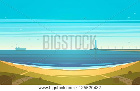 Seashore. Vector illustration.