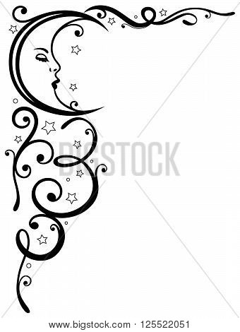 Moon and stars tendril, vector design element.