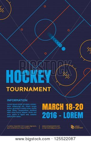Ice hockey tournament poster. Vector line illustration hockey arena with puck.