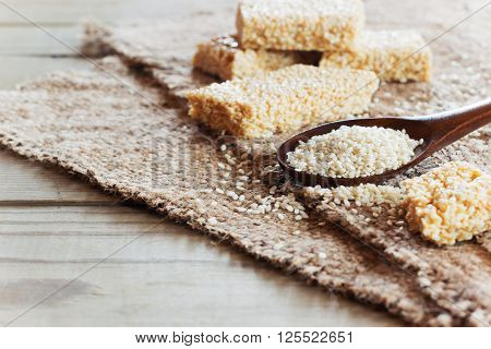 Sesame Seed And Sesame Dessert With Caramel