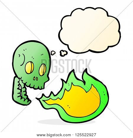cartoon fire breathing skull with thought bubble
