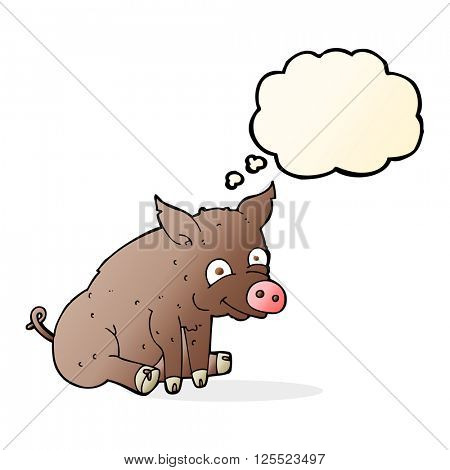 cartoon happy pig with thought bubble
