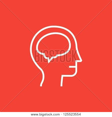 Human head with brain line icon.