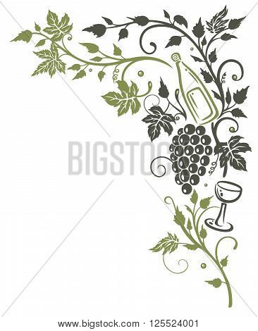 Filigree vine leaves with Grapes and wine, vector decoration.