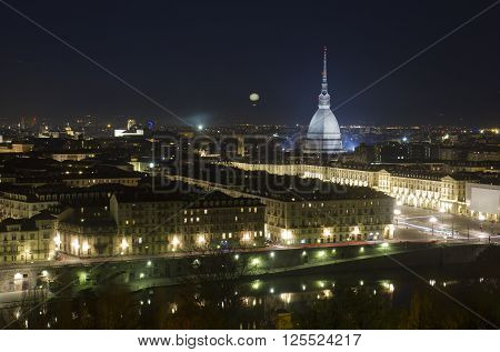 Mole Antonelliana by night in Turin Italy