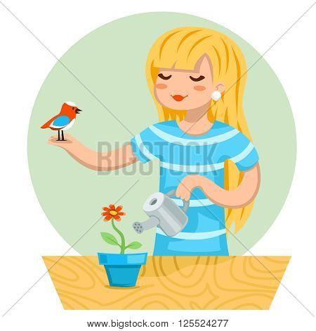 Cartoon Girl Female Woman Character Bird Watering Flower Icon Stylish Background Design Vector Illustration