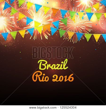 Welcome to Brazil Rio 2016. Background with balloons and with a garland from Brazil flag colors.