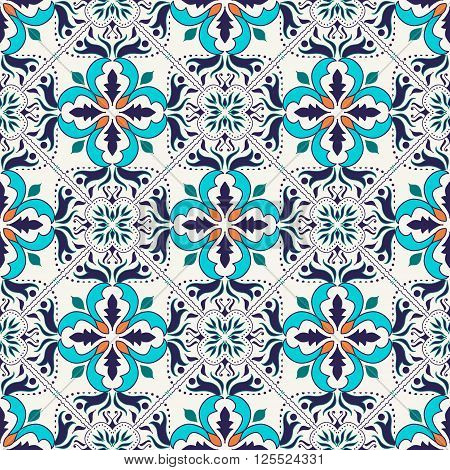 Vector seamless texture. Beautiful colored pattern for design and fashion with decorative elements. Portuguese tiles Azulejo Talavera Moroccan ornaments in blue and orange colors