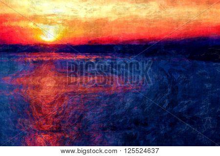 sunset painting impressionism, amazing sunset scene brush painting, sun light reflection, evening sun, impressionism inspiration,