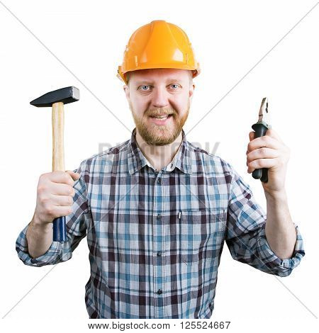 Man in an orange helmet with a hammer and pliers