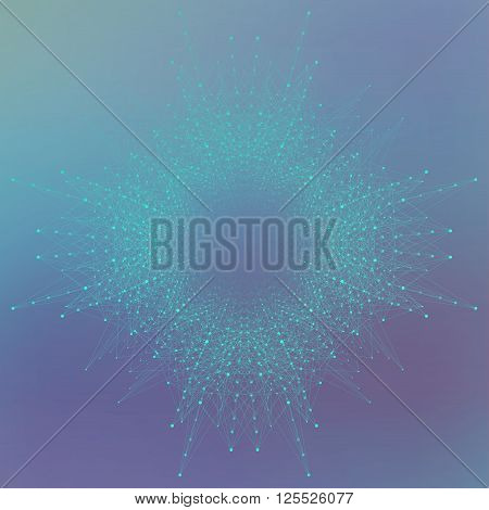 Geometric abstract form with connected line and dots. Graphic background for your design. Vector illustration.