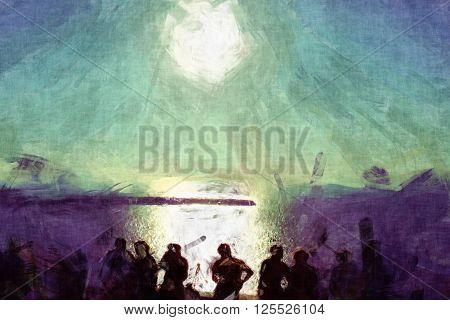 people looking at sun painting, people shadows in front of the sunset view painting, sunshine painting