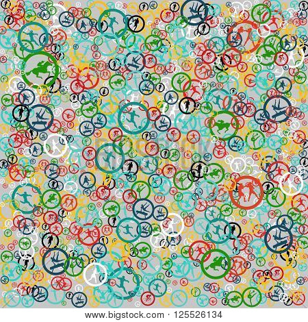 Abstract colorful summer sports background. Color sport icons pattern. Summer sports Sport design Sport icons. Print texture textile pattern gift wrapping paper. Flat style. Design Template Vector