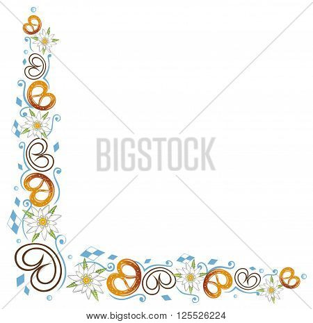 Oktoberfest tendril, pretzel and edelweiss, vector design.
