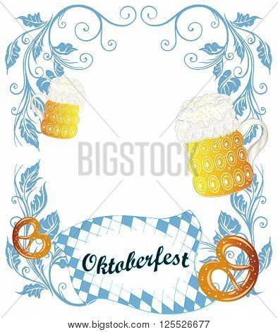 Oktoberfest frame with pretzel, edelweiss and beer.