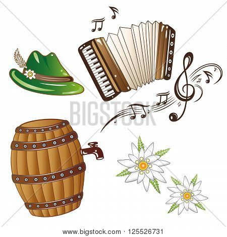 Oktoberfest vector design, clef, music notes and accordion.