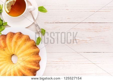 Cheese pudding on a wooden table. Background.