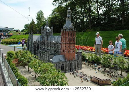 THE HAGUE, THE NETHERLANDS, July 5: Scale model of St John's Cathedral in Madurodam, a miniature park with replicas of Dutch buildings and a popular tourist attraction in the Netherlands on July 5, 2012