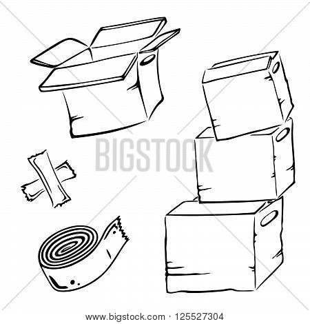 Vector set with cartons, wrappers, design elements.