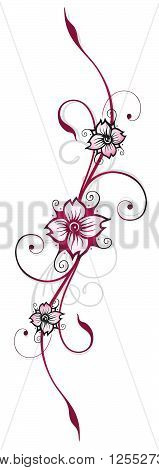 Colorful floral element, cherry blossoms with feminine Tribal.