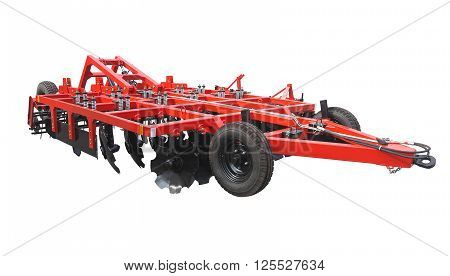 Red new farm cultivator plow for tractors isolated over white background