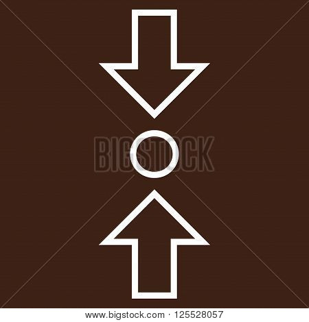 Compress Vertical vector icon. Style is stroke icon symbol, white color, brown background.