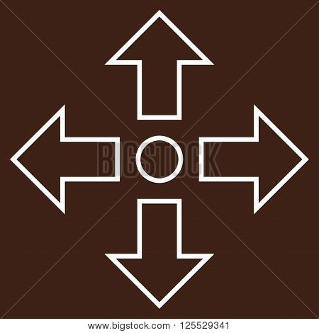 Maximize Arrows vector icon. Style is thin line icon symbol, white color, brown background.