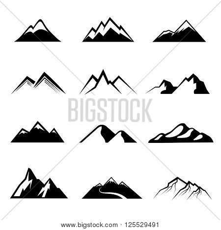 Mountains black vector icons. Mountain nature, outdoor mountain, peak mountain rock illustration