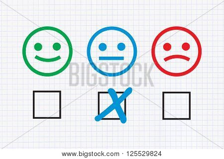 Checklist with Neutral feedback on graph paper background