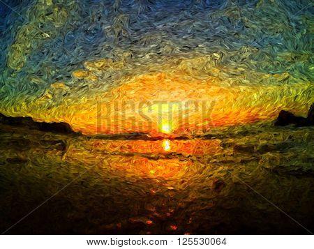 amazing sunrise impressionist painting, july morning sunrise oil painting