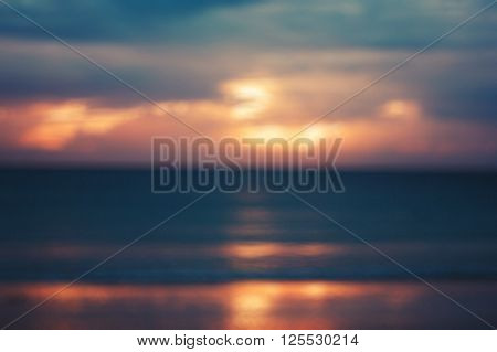 Blurred Image Of Seascape With Sunset