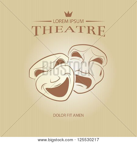 Comedy and tragedy theatrical masks. Face mask art, tragedy mask, comedy mask, vector illustration