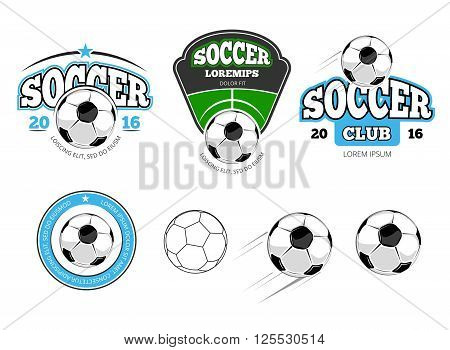European football, soccer vector labels, emblems, logos and badges. Sport soccer, ball for football soccer, team soccer, game football, play football illustration