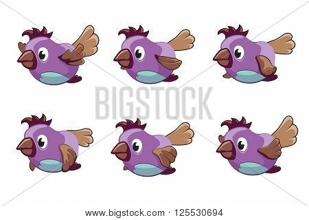 Bird animation vector frames. Animation bird, animal fly animation, cartoon animation sequence illustration