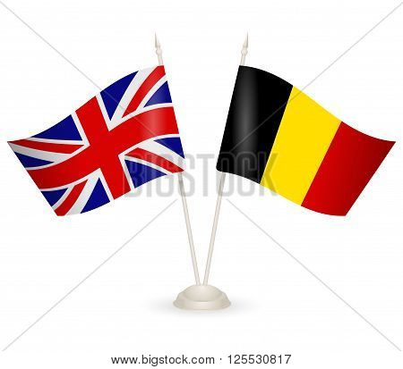 Table stand with flags of England and Belgium. Symbolizing the cooperation between the two countries.