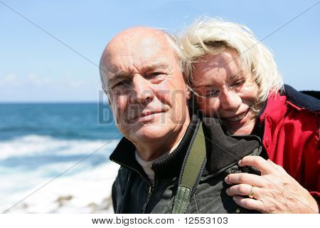 Portrait of a senior couple at seaside